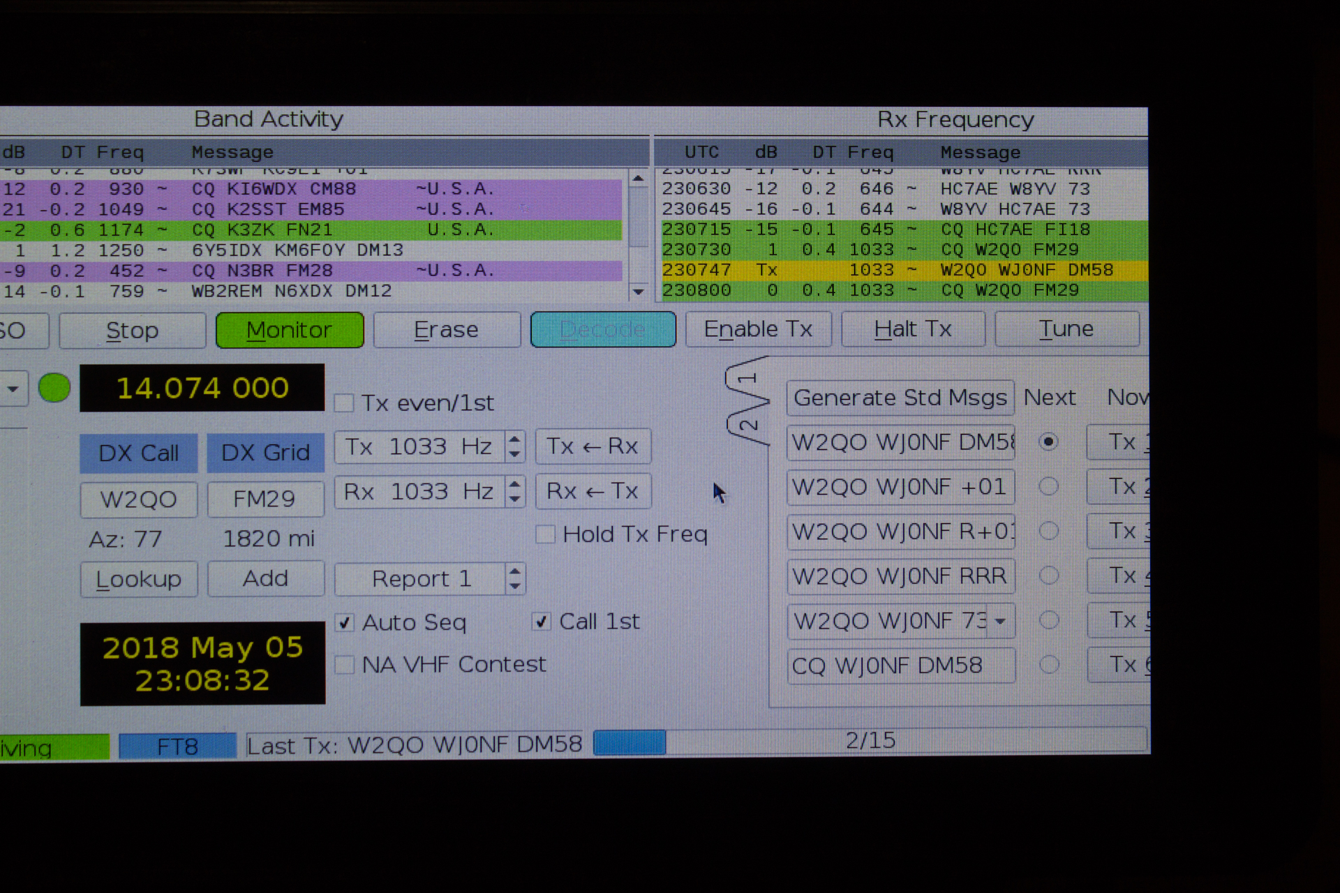 FT-8 working just fine on the Raspberry Pi build