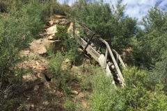 Old stair case from truck loading level up to the mine.